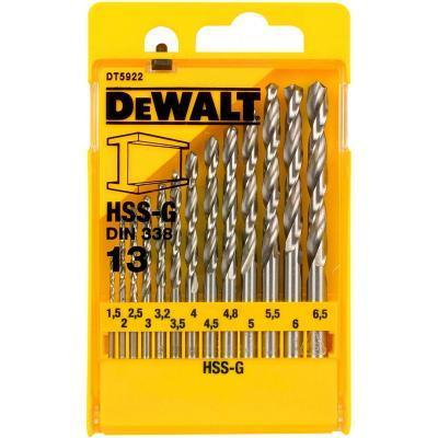 Набор сверл DeWALT HSS-G по металлу, 13шт, d=1,5-6,5мм. (DT5922)