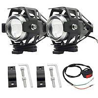 U5 Универсальные светодиодные мото фары прожекторы мотоцикла квадроцикла LED 12В + кнопка