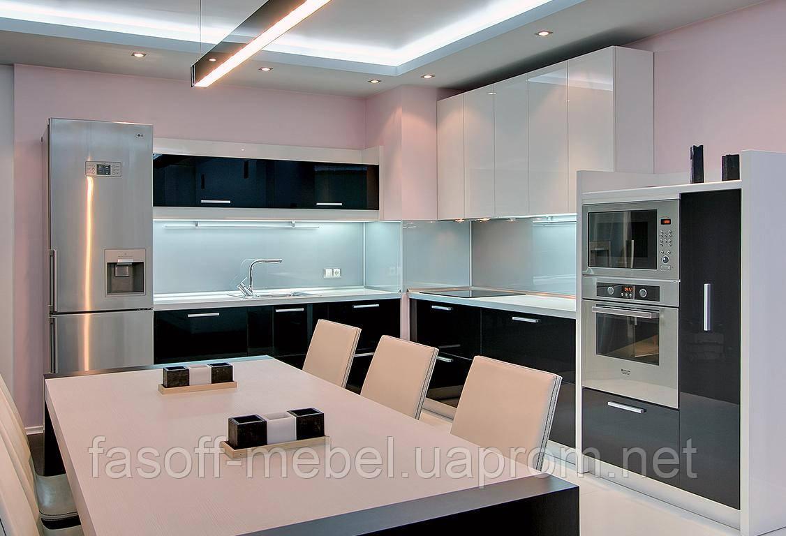 Черно-белая кухня на заказ. МДФ крашеный