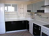 Черно-белая кухня на заказ. МДФ крашеный, фото 2