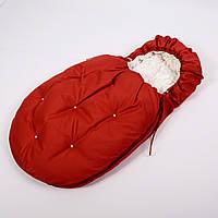 Конверт - кокон зимовий 45смх85см Умка Червоний з намистинами і з молочним плюшем + чобітки