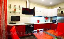 Бело-красная кухня на заказ. МДФ пленочный