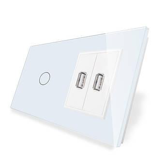 Сенсорный выключатель Livolo с USB розеткой цвет белый стекло (VL-C701/2USB-11)