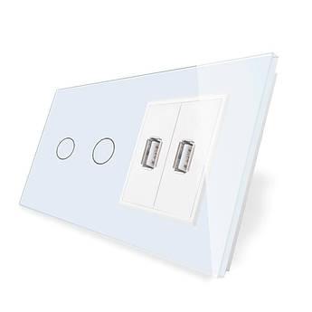 Сенсорный выключатель на два канала Livolo с USB розеткой цвет белый стекло (VL-C702/2USB-11)