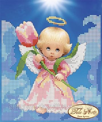 Схема для вышивки бисером Ангелочек с тюльпаном, фото 2