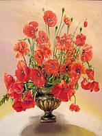 Алмазная живопись Маки в вазе, 30x40 (pda117)