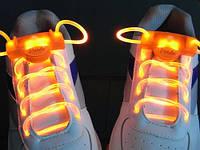 Светящиеся led шнурки оранжевые 3-го поколения.