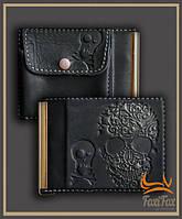 """Кожаный зажим для денег """" Череп """" с монетницой, фото 1"""