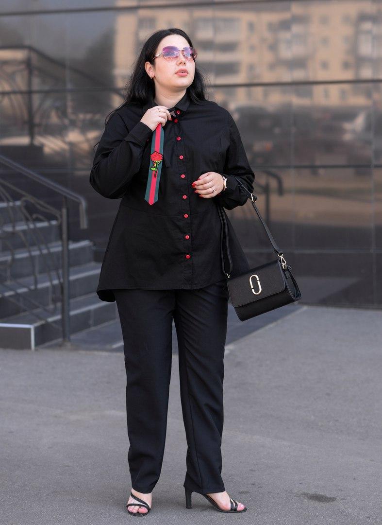 Женская рубашка с баской в деловом стиле батал с 48 по 82 размер