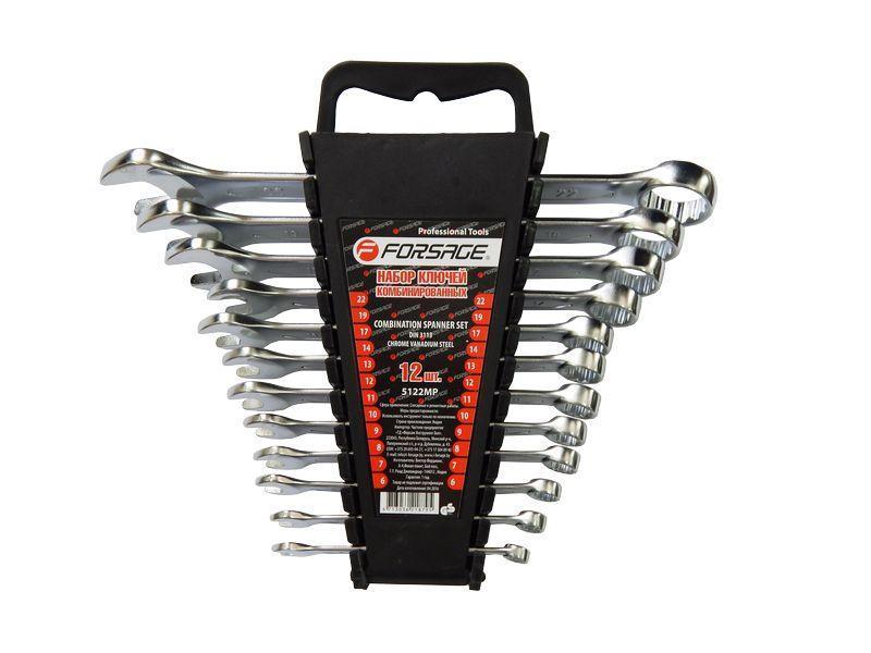 Набор ключей комбинированных 12пр. (6-14, 17,19, 22мм) в пласт.держателе Forsage F-5122MP К:10353