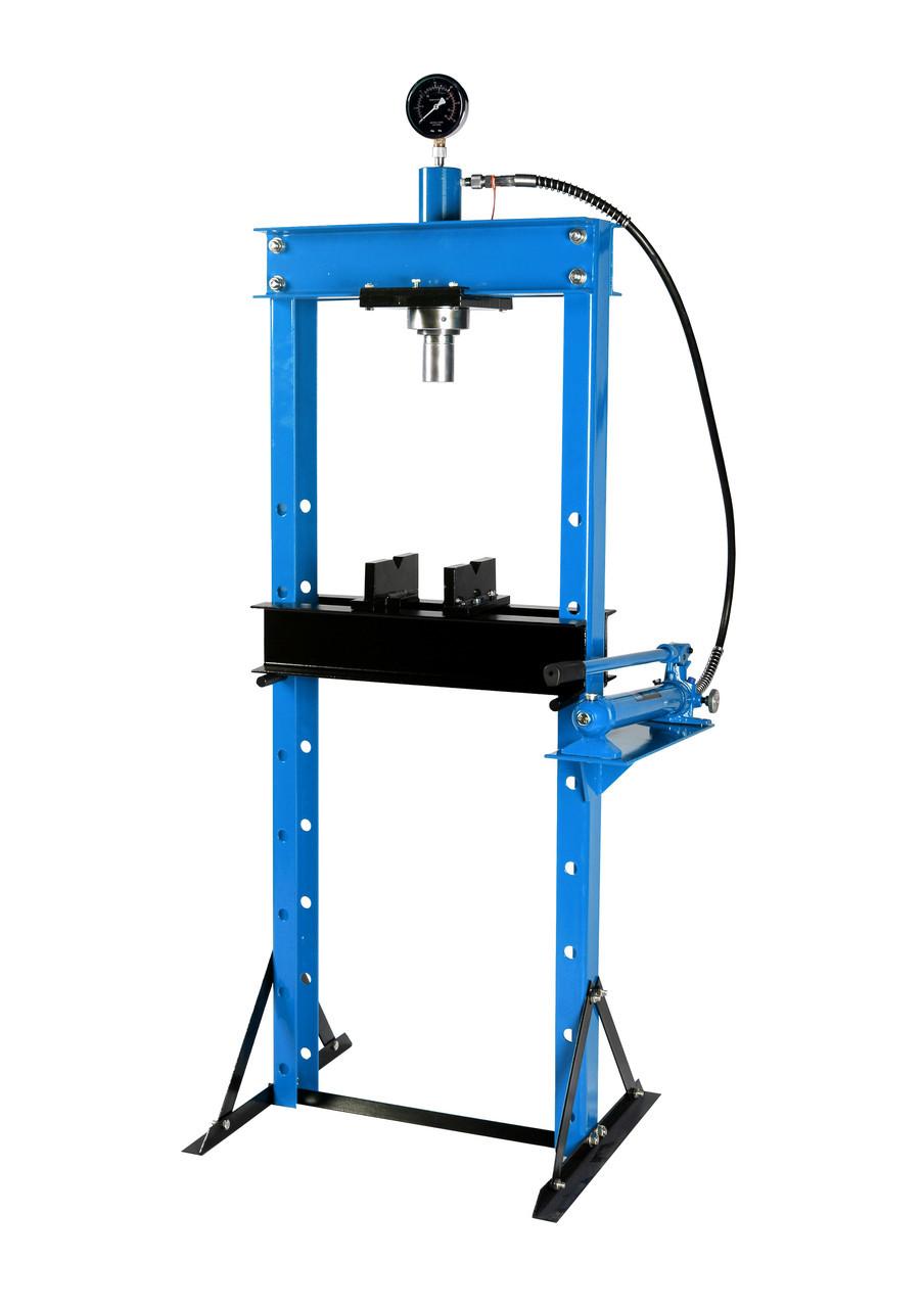 Пресс гидравлический 20т с манометром и выносным насосом (размер:182x70x60см,диапазон работ: 0-115см,ход поршн