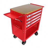 Тележка инструментальная 4-полочная(красная)с деревянной столешницей+2боковые перфорации и лоток