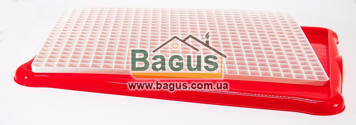 Сушилка-поднос для посуды и фруктов пластиковая 43,5х34х2см (цвет - красный) Hobby Life 1306-4