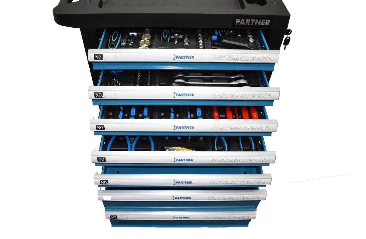 Тележка инструментальная 7-и полочная(синяя) укомплектованная инструментом 220пр