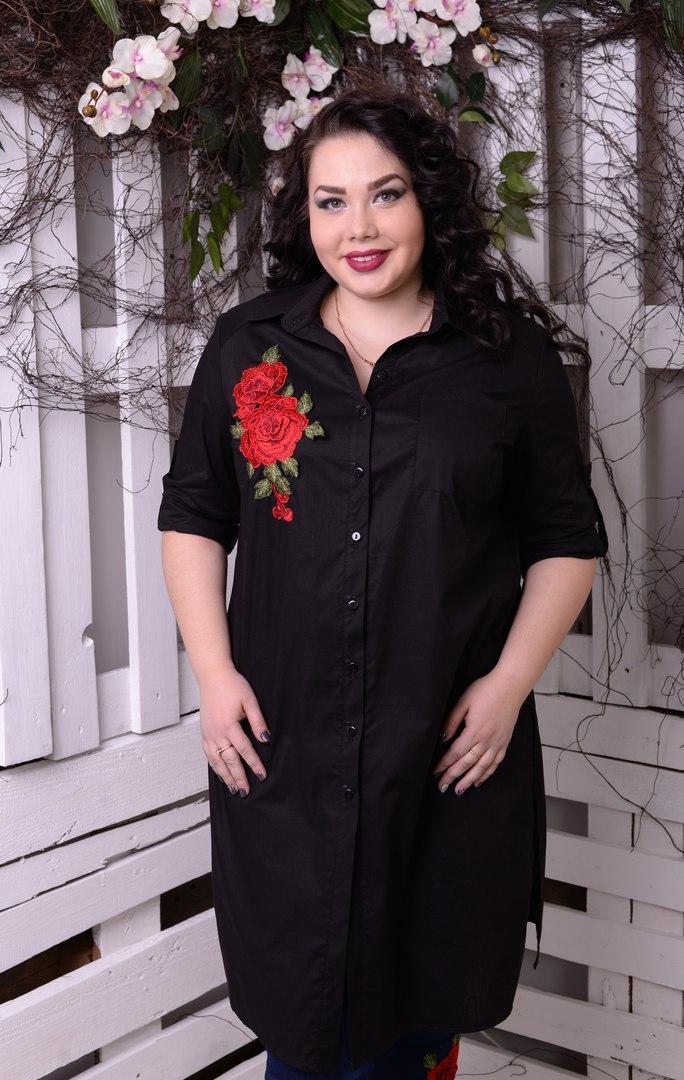 Модная молодёжная  рубашка с аппликацией розы батал с 48 по 82 размер