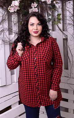 Модная женская  рубашка в клеточку батал с 48 по 82 размер, фото 2