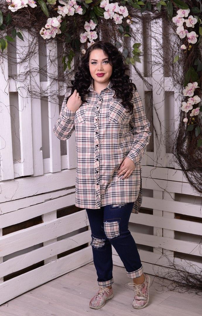 Модная женская  рубашка в клеточку батал с 48 по 82 размер