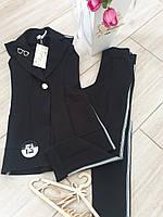 Модный школьный комплект на девочку подростка брюки + жилет Размер  140