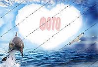 """Харчовий цукровий / вафельний їстівний друк _ лист А4 """"Рамка Морська з дельфінаом"""" Сахарная"""