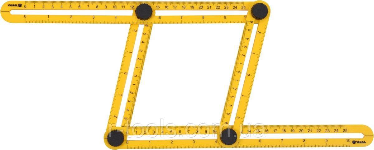 Шаблон - линейка для переноса измерений 310 х 175 х 25 мм Vorel 18470