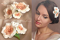 """""""Нежно персиковые розы"""" нарядная заколка для волос , фото 1"""
