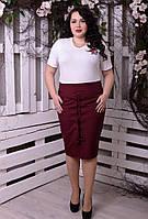 Оригинальная женская юбка -карандаш с шнуровкой ао всей длине батал с 48 по 74 размер