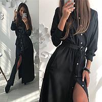 Стильное платье- рубашка на кнопках длинное в расцветках