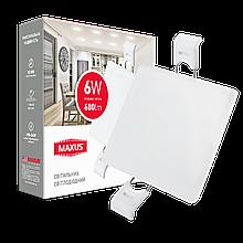 Світильник 6W світлодіодний врізний LED MAXUS SP edge, 4100К (квадрат)