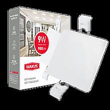 Світильник 9W світлодіодний врізний LED MAXUS SP edge, 4100К (квадрат)