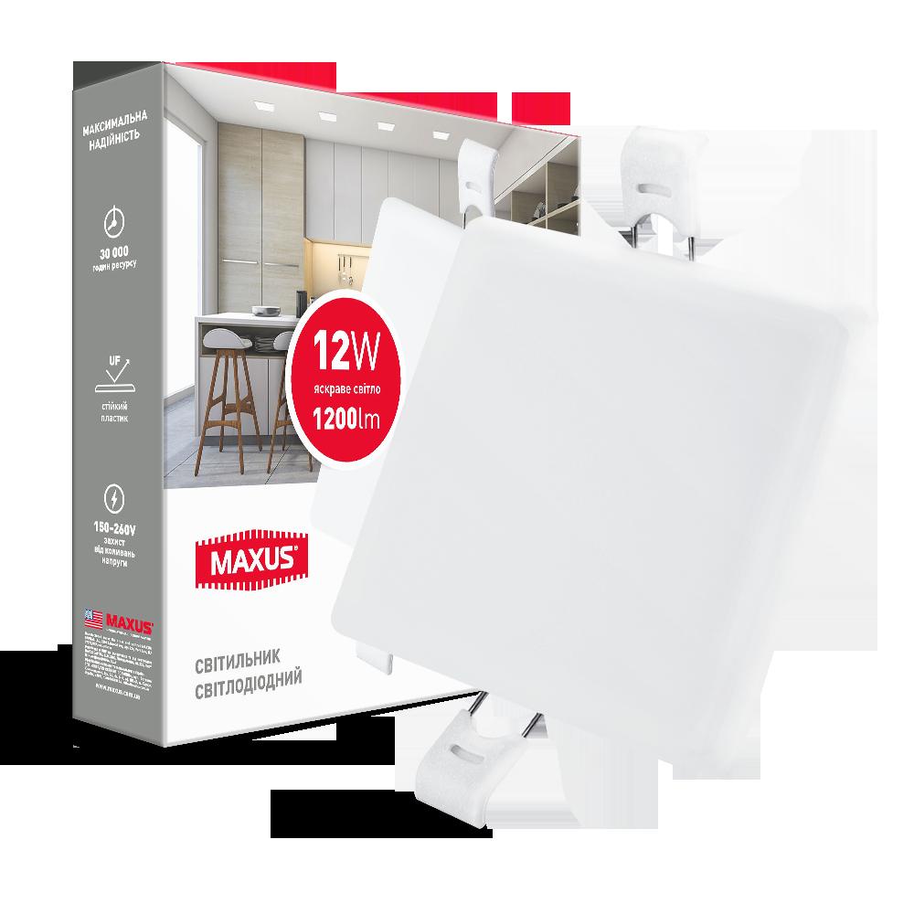 Світильник 12W світлодіодний врізний LED MAXUS SP edge, 4100К (квадрат)