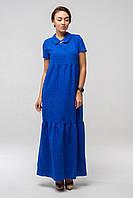 ✔️ Длинное платье лен Кураж 44-52 размера электрик, фото 1