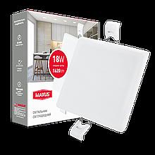 Світильник 18W світлодіодний врізний LED MAXUS SP edge, 4100К (квадрат)
