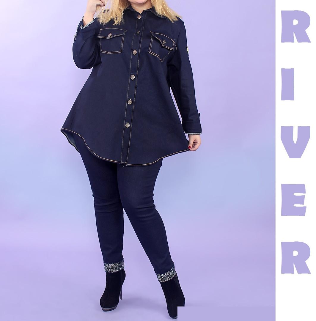 Модная женская рубашка из джинса батал с 48 по 82 размер