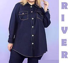 Модная женская рубашка из джинса батал с 48 по 82 размер, фото 2