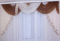 Ламбрекен на карниз 2,5м.  №82 Цвет коричневый с бежевым, фото 1