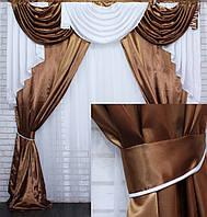 Комплект ламбрекен с портьерами 3м. Модель №135 Коричневый с белым, фото 1
