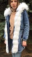 Джинсовая парка с мехом полярной лисы и капюшоном