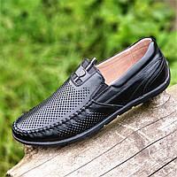 Мужские летние туфли мокасины кожаные черные (Код: 1508)