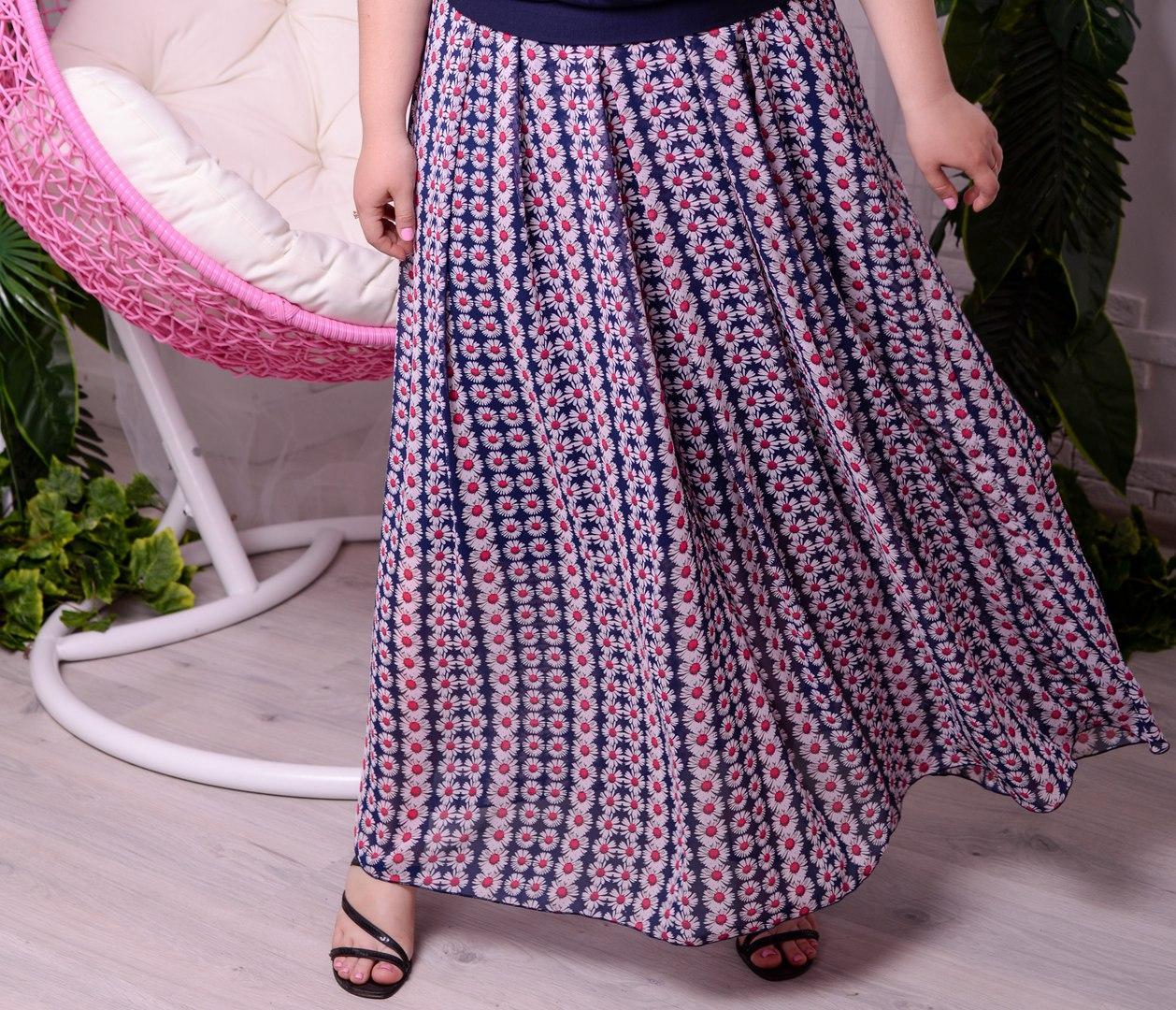 Летняя длинная женская юбка из шифона батал с 48 по 98 размер