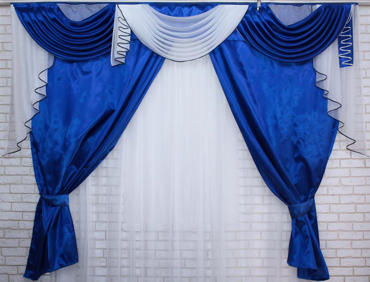 Комплект ламбрекен с портьерами 3м. Модель №135 Синий с белым