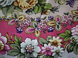 Душа троянди 1838-8, павлопосадский хустку (шаль) з ущільненої вовни з шовковою бахромою в'язаній, фото 4