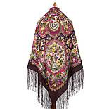 Душа розы 1838-8, павлопосадский платок (шаль) из уплотненной шерсти с шелковой вязаной бахромой, фото 2