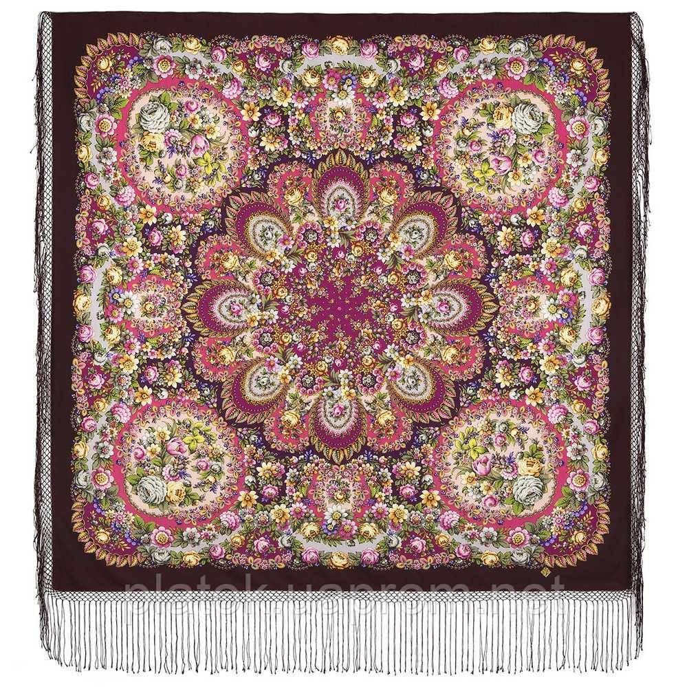 Душа розы 1838-8, павлопосадский платок (шаль) из уплотненной шерсти с шелковой вязаной бахромой