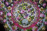 Душа розы 1838-8, павлопосадский платок (шаль) из уплотненной шерсти с шелковой вязаной бахромой, фото 6
