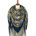 Душа розы 1838-12, павлопосадский платок (шаль) из уплотненной шерсти с шелковой вязаной бахромой, фото 3