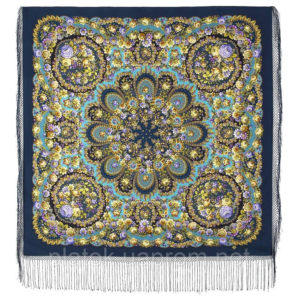 Душа розы 1838-12, павлопосадский платок (шаль) из уплотненной шерсти с шелковой вязаной бахромой