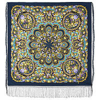 Душа розы 1838-12, павлопосадский платок (шаль) из уплотненной шерсти с шелковой вязаной бахромой, фото 1