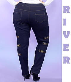 Модные эффектные джинсы  украшенные молниями батал с 48 по 82 размер, фото 2