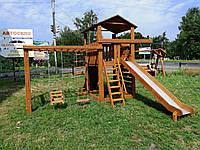 Игровой комплекс, детская игровая площадка деревянная с качелями и горкой п36
