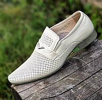 Мужские летние туфли кожаные классические модельные бежевые (Код: 1511)